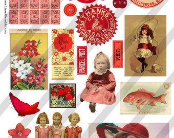 Digital Collage Sheet  Red  Images (Sheet no. O2) Instant Download