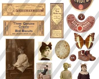 Digital Collage Sheet  Brown  Images (Sheet no. O7) Instant Download