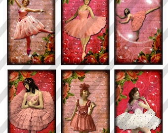 Digital Collage Sheet Ballet Domino Images 1X2  Pink Ballerinas (Sheet no. FS168) Instant Download
