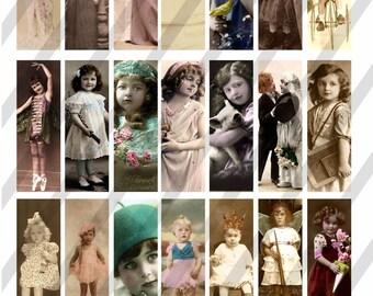 Digital Collage Sheet 1X3 Glass Slide Art. Vintage postcard images (Sheet no.FS32) Instant Download