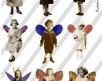 Digital Collage Sheet Fairies With Wings 17 (Sheet no. FW17) Instant Download