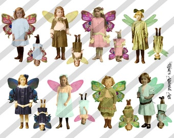Digital Collage Sheet Fairies With Wings  (Sheet no. FW23) Instant Download