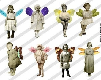 Digital Collage Sheet Fairies With Wings 2 (Sheet no. FW2) Instant Download