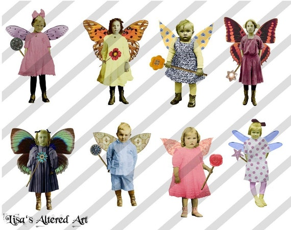 Digital Collage Sheet Fairies With Wings (Sheet no. FW11) Instant Download