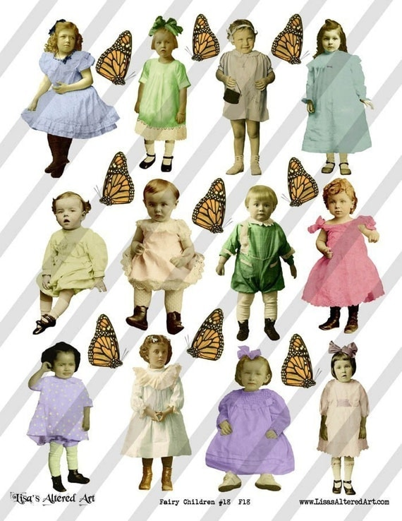 Digital Collage Sheet Children (Sheet No. F18)  PNG file available-Instant Download
