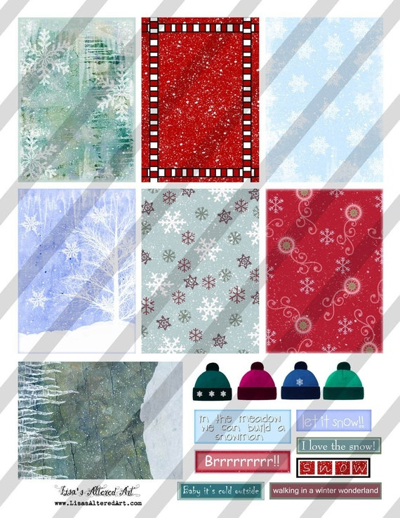 Christmas Digital Collage Sheet Let It Snow Backgrounds  ATC cards 2.5 X 3.5 (Sheet no. H21) Instant Download