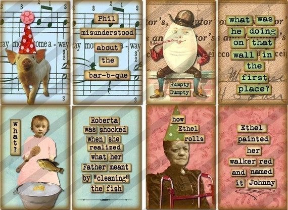 Digital Collage Sheet , FUNNY Images ,Vintage printable, (Sheet no. FS88) Instant Download 1x1.5 inches