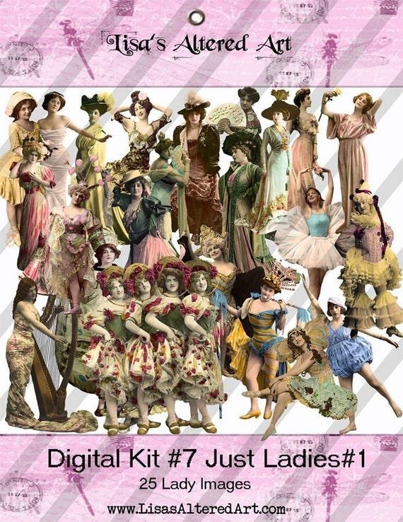Digital Kit- No.7 -For Digital Art Just Ladies 1 -25 Different Ladies PNG files-Instant Download