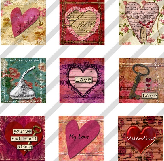 Digital Collage Sheet  1X1 Charms Inchies Hearts Valentines Love (Sheet no.FS116) Instant Download