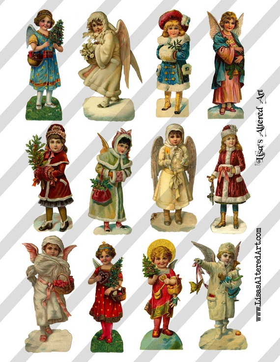 Digital Collage Sheet Victorian Christmas Images (Sheet no. O91) Instant Download