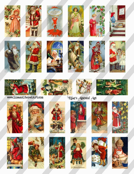 Digital Collage Sheet Christmas 1X2 Domino Postcard Images (Sheet no. O95) Instant Download