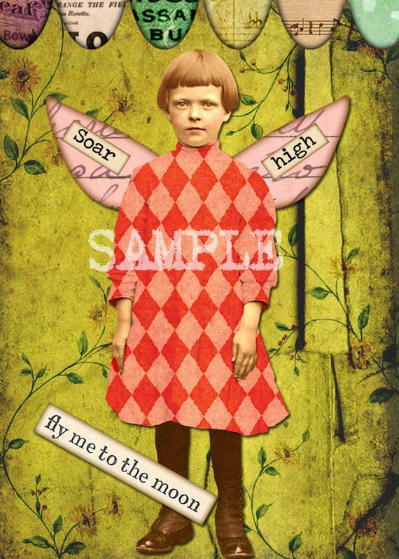 Digital Collage Sheet Fairies With Wings  (Sheet no. FW24) PNG file available-Instant Download