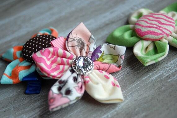 fabric flower clip set