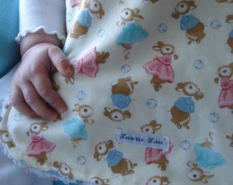 Busy Bunnies Too Chenille Bib for Girls and Boys