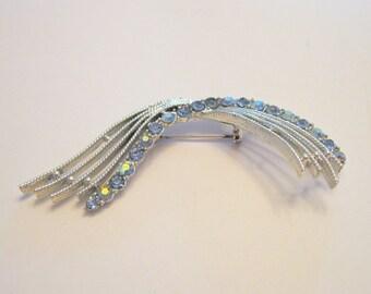 Vintage Rhinestone Brooch Sapphire Aurora Borealis Silvertone