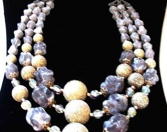 Vintage Bib Necklace Triple Strand Beaded