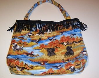 BIRDS and DOGS FRINGED Novelty Tote, Purse, Bag, Handbag, Carry All