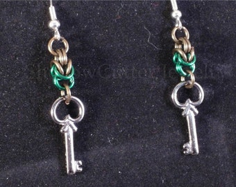 CLEARANCE 30% OFF Earrings chainmaille Byzantine, Skeleton key charm, green, gun metal, hypoallergenic silver tone hooks