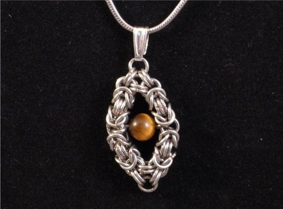CLEARANCE 25% OFF  Floating Tiger Eye Pendant Byzantine Chainmaille Necklace Silver enameled copper diamond shape frame bead