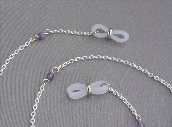 Eyeglass Chain Silver tone with Amethyst beads spectacles sunglasses accessories