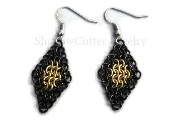 CLEARANCE 30% OFF Earrings Chainmaille Diamond Black and Gold Hypoallergenic silver tone hooks micro maille bicolor frame