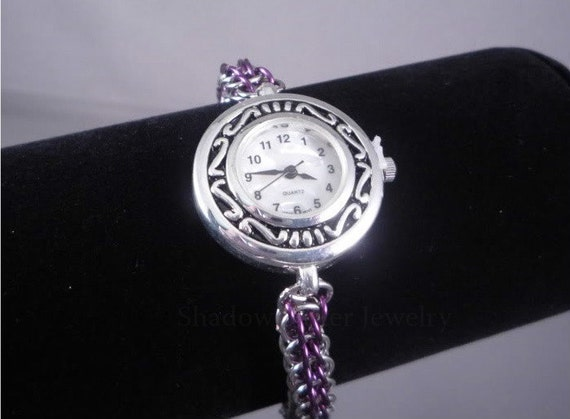 CLEARANCE 30% OFF Chainmaille Wrist Watch Purple and Silver FP chainmail timepiece adjustable silver tone clasp Japan Quartz stainless steel
