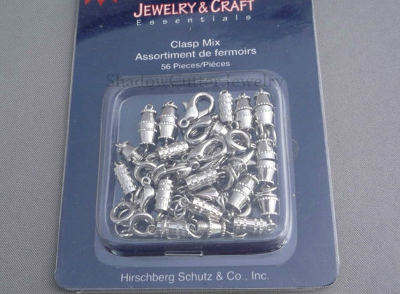 Clasp mix value pack assortment - silver tone - lobster - barrel - spring ring - jump rings - reusable storage pack - 56 pieces