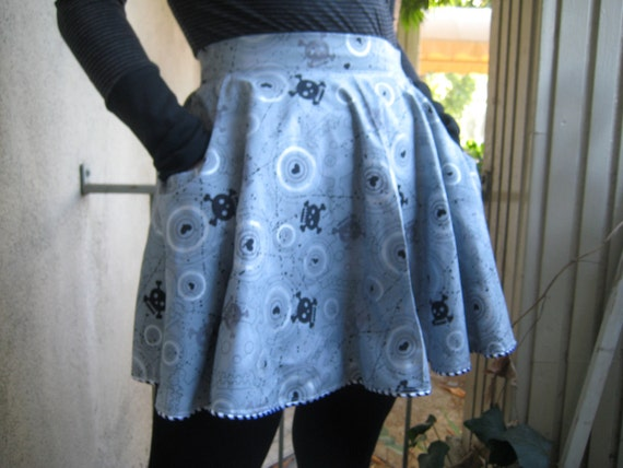 Skull Skirt with Pockets and Train Back