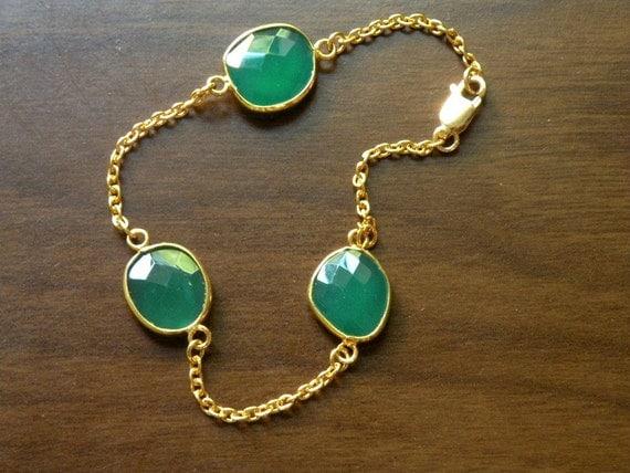 Green Onyx  Bracelet Bezel Set 22k Gold