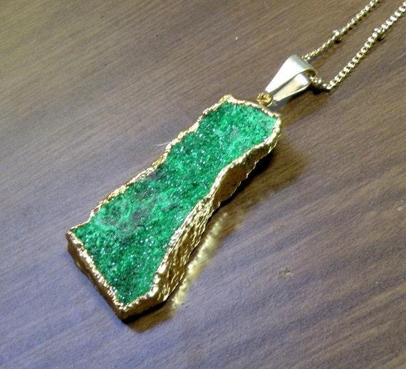 Bright Green Natural Uvarovite Green Garnet Druzy Pendant 24k gold Dipped
