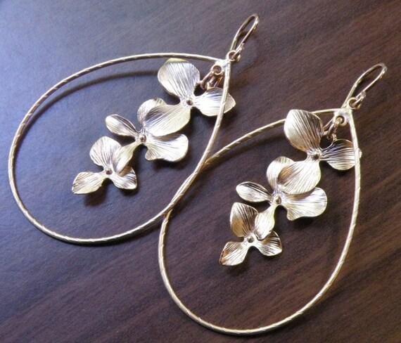 Orchid Flower Chandelier Earrings 16K Gold