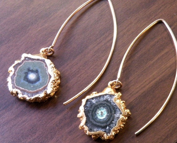 Natural Amethyst Stalactite Slice Earrings with 24K Gold Dipped Edge