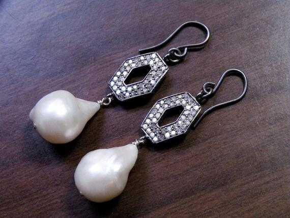 Pavé Diamond Earrings Baroque Pearl Earrings Genuine Diamond Earrings June Birthstone Real Pearl Earrings Genuine Pearls PD-E-114-os