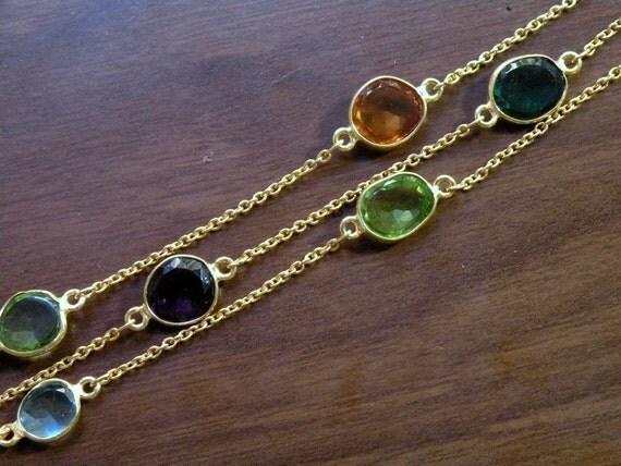 """Autumn Multi Colored Quartz Bezel Set Triple Strand Bracelet 22K Gold Vermeil 8"""""""