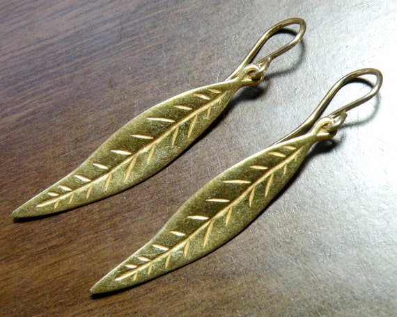 Leaf or Feather 22K Gold Vermeil Earrings