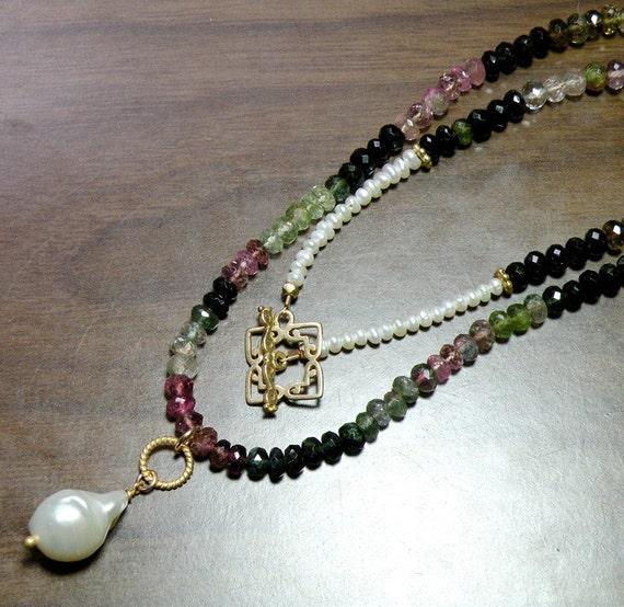 Tourmaline Baroque Pearl Ombre Pendant Necklace 22K Gold Vermeil