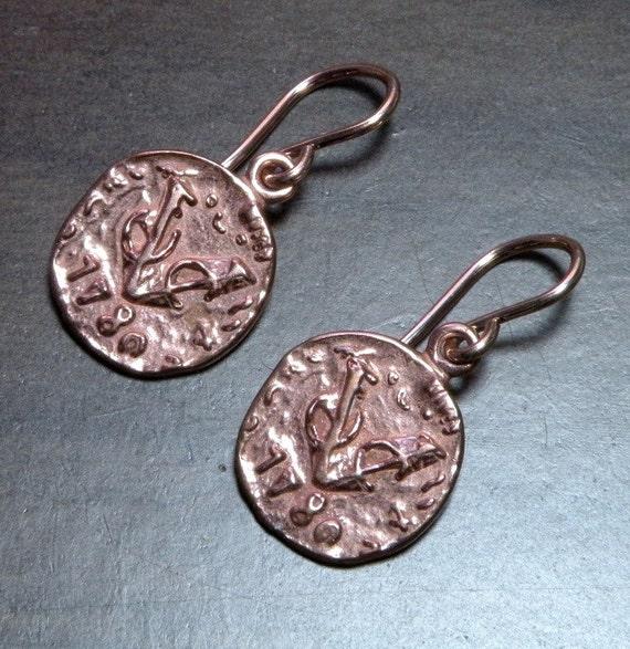 Rose Gold Dutch Duit Coin Earrings