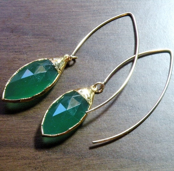 Green Onyx Faceted Marquise Earrings 24K Gold Dipped