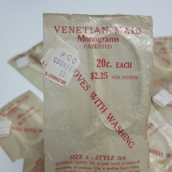 lot of 12 vintage Venetian Maid 'a' monograms