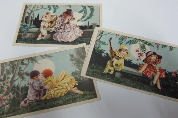 Bertiglia Pierrot and Columbina children postcards