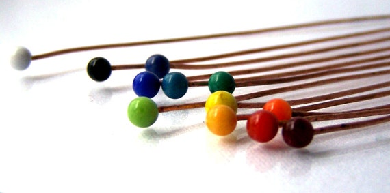 "Rainbow Lampwork 3""  Copper or Brass Headpins Made to Order (12) SRA"
