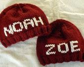 ONE Custom Knit Hat With Personalized Name (6 Letters or Less)