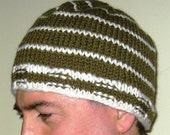 Man's Striped Knit Hat -- Army Green