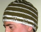 Man's Striped Knit Hat -- Army Green