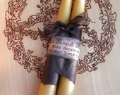 Old World Pure Beeswax Taper Candles . Set of 2 . Beautifully Hand Dipped