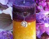 Purple Sun Pillar 2x3 . Spring, Summer Solstice, Evening Illumination, Love. Exotic Wild Jasmine, Orange Honey, Spring Flora, Vanilla Bean
