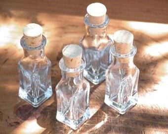 Glass Crystalline Square Corked Vials 3ml - Set of 4 . Mini Potion Bottles, Perfume Bottles, Herb Bottles