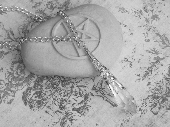 Divinity . Swarovski Crystal Magickal Prism Divination Pendulum Necklace . Silver Filigree Pendant . 30 inch Pagan Wiccan