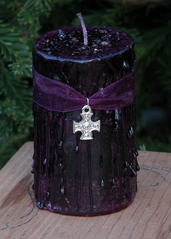 Witches Shield . Herbal Alchemy Magick Candle 2x3 Pagan . Pure Dragons Blood Resin