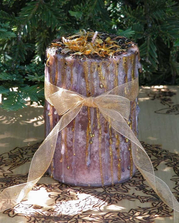Witches Gathering Herbal Alchemy Magick Candle 2x3 . Friendship, Blessings . Pagan, Wiccan, Witchcraft